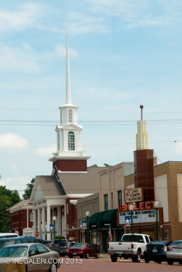 First Baptist Church and Select Cinema at N Johnson St, Mineola, Tx