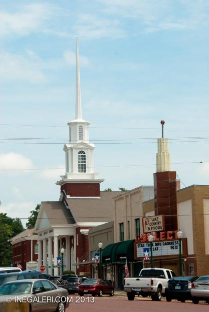 First Baptist Church and Select Cinema at N Johnson St, Mineola, Tx