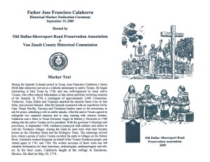 Point 8: Father Jose Calahorra Historical Marker Dedication