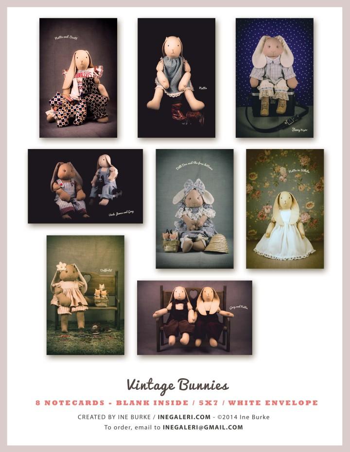 Vintage Bunny Notecards by Ine Burke