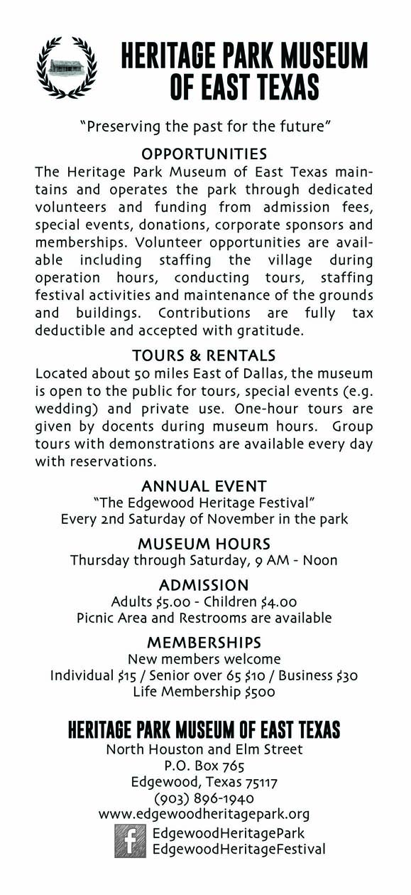 Heritage Park Brochure BackS