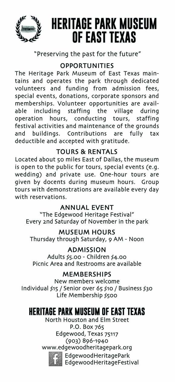Heritage Park Brochure BackS